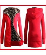 Long Red Front Zip Up Lined Leopard Print Medium Length Hooded Parka Ja... - €51,73 EUR