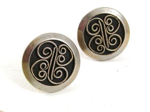 1970'S Silvertone & Black Cufflinks 51817