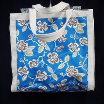 "Large Tote Shopper Attached Makeup Bag 14"" Blue Floral 100% Cotton Liz Claiborne - $24.74"
