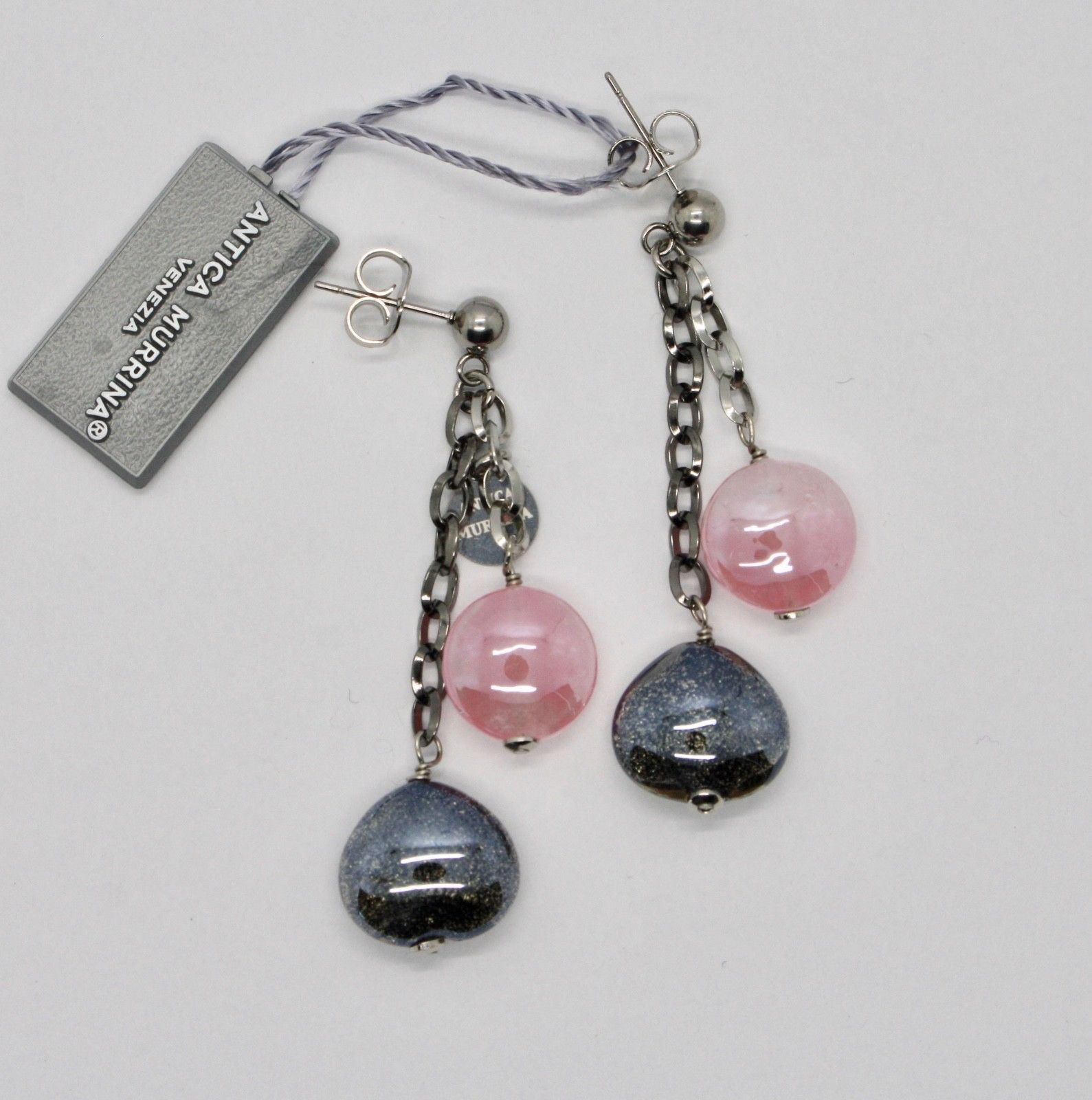 EARRINGS ANTICA MURRINA VENEZIA WITH MURANO GLASS GRAY AND PINK OR590A45