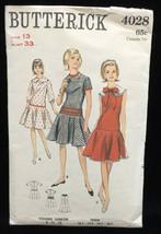 Dress Sewing Pattern Size 13 Teen Junior Vintage # 4028 Butterick 1960s ... - $6.92