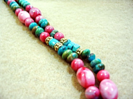 Turquoise and Pink Howlite Stone Necklace, Blue Gemstone Bead Necklace, Handmade