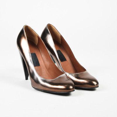 Lanvin Metallic Brown Leather Round Tone High Heel Pumps SZ 39