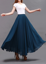 LONG CHIFFON SKIRT Teal Blue Chiffon Skirt High Waisted Wedding Chiffon Skirt image 6