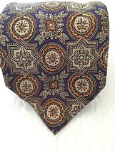 "Polo Ralph Lauren Mens Tie Purple Gold Abstract Handmade England 58"" L X 4"" W - $29.97"
