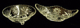 Set of 2 Vintage Clear Glass Matching Relish Dishes Bowls Star Starburst - $14.89