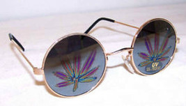 1 pair POT LEAF REFLECTION SUNGLASSES eyewear glasses marijuana leaves n... - $4.50