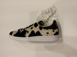 Adidas Stan Smith Fuzzy Calf Hair Cow Print Black FV3087 Women's 9.5 - $69.00