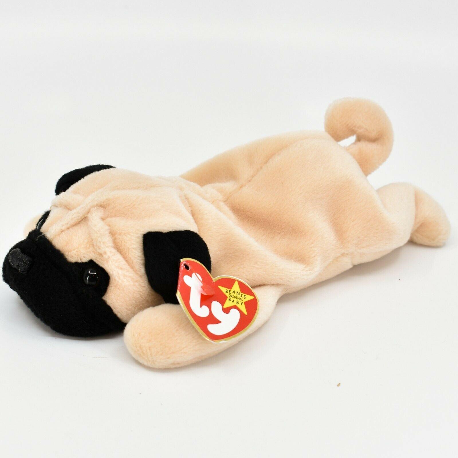 1996 TY Beanie Baby Original Pugsly the Pug Dog Retired Beanbag Plush Toy