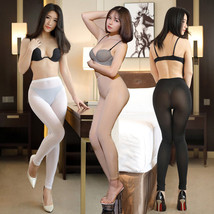 Sexy Ice Silk Smooth Transparent One Piece Leggings See Through Pencil Pants - $11.99