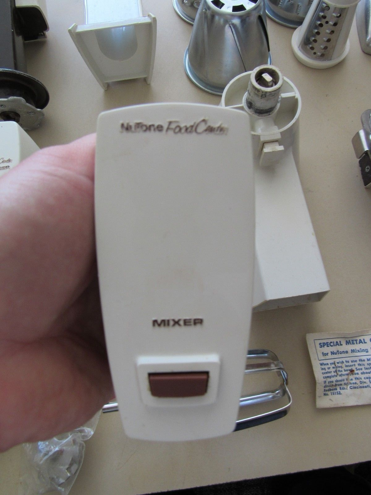 Nutone Food Center Appliance Multiple Attachments Sharpener Opener Grinder Lot