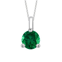 "925 Sterling Silver 4mm Emerald Fashion Solitaire Pendant 18"" Chain Necklace - $60.95"