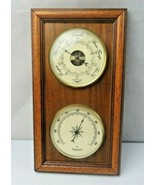 Vintage French Mid Century Modern Deco Glass Wood Barometer Thermometer - $80.00