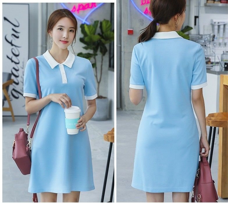 Charming  Turn-down Collar Short Sleeve Slim Summer Cute Leisure Shift Dress
