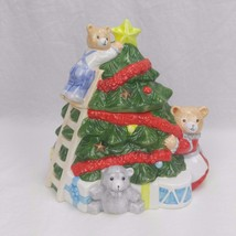 OCI Fitz & Floyd Omnibus Hand Painted BN Christmas Tree and Bears Cookie... - $25.24