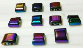 10pcs. Rainbow Hematite Flat Square Beads 10x10mm 2-Hole image 2