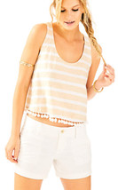 NWT Lilly Pulitzer Shirley Crop Top Heathered Sand Dune XS S NEW Pom Pom - $38.00