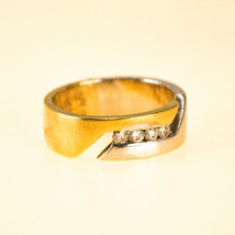 14k Gold Mens Wedding Band Ring with Diamonds UK size M BHS - $589.21