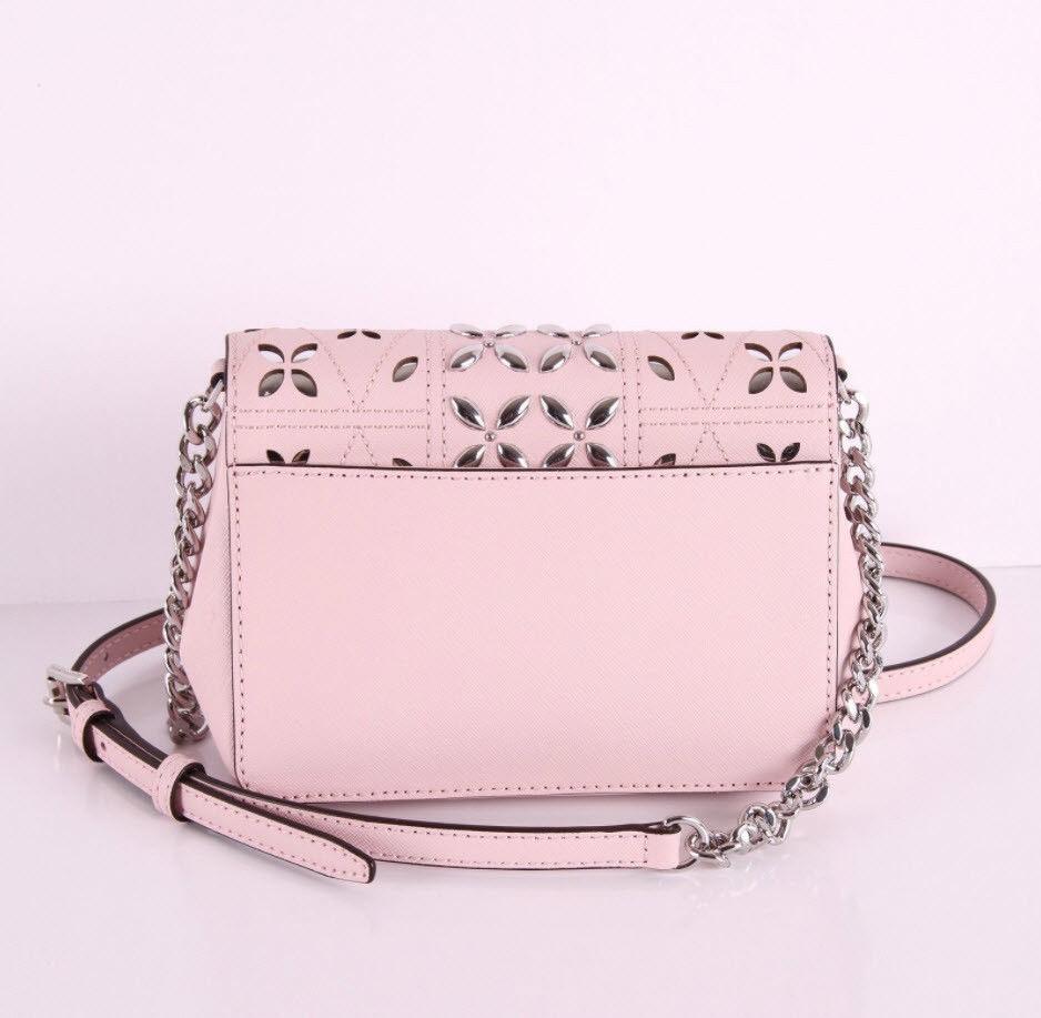 Michael Kors Tina womens small CLUTCH BAG crossbod stud floral Pink NWT