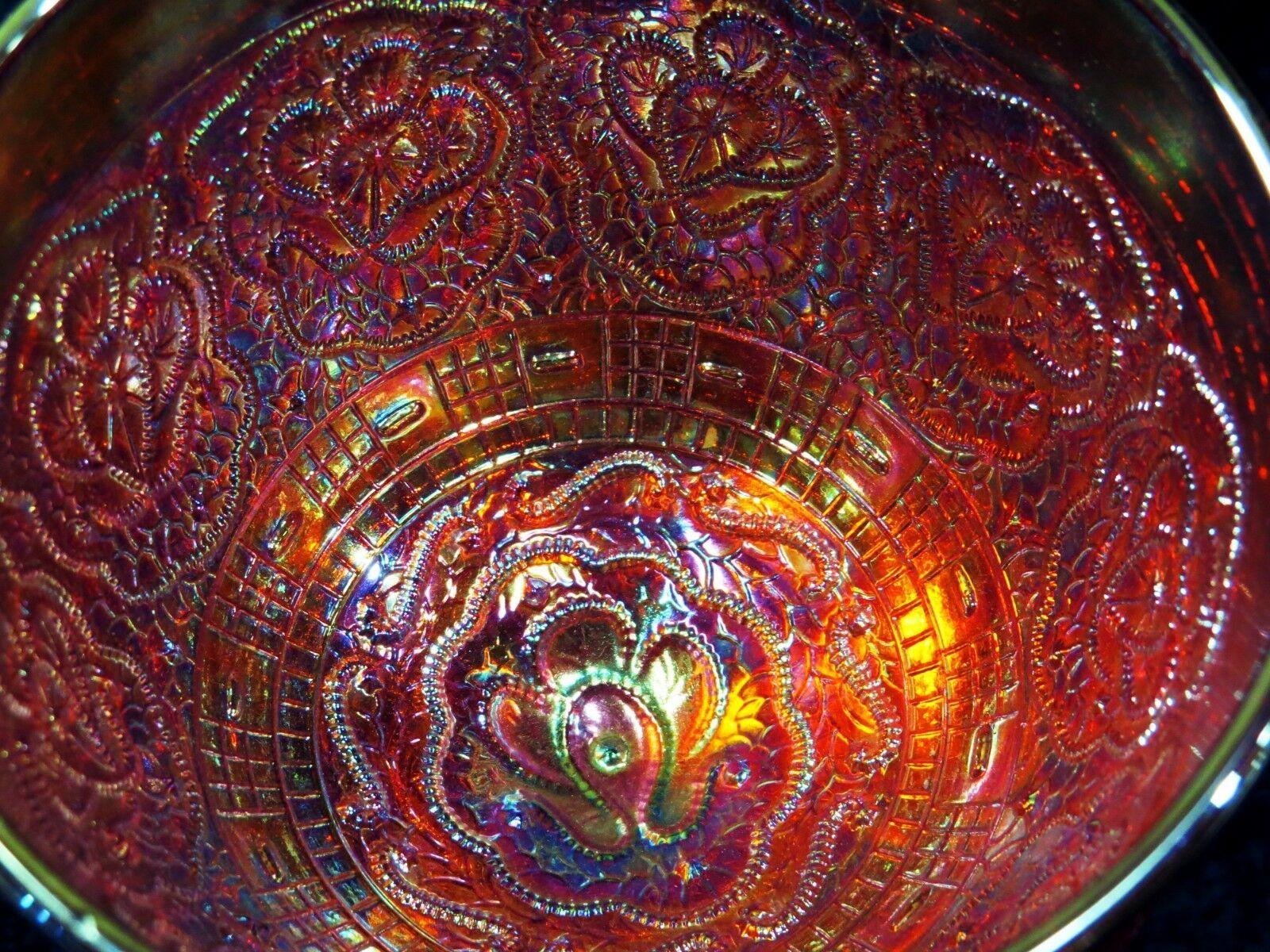 Fenton Glass Chalice Persian Medallion Orange Red Carnival 1 Yr Prod. Circa 1970