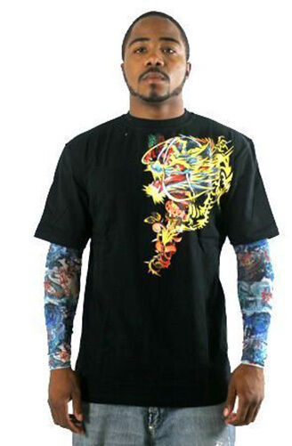 Kanji Premium Brand Mens Black Dragon Tattoo Art Long Sleeve T-Shirt L XL NWT