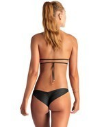VITAMIN A SWIM BLACK SAMBA RUCHED BACK BRAZILIAN BIKINI BOTTOM (8/M) 45B... - $80.00