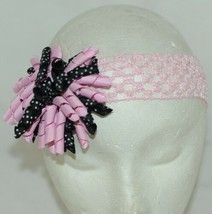 Unbranded Girl Infant Toddler Headband Removable HairBow Curly Pink Black White image 1