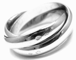Authentic! Cartier 18k White Gold Trinity Band Ring Size 53 US 6 1/4 - $1,320.00