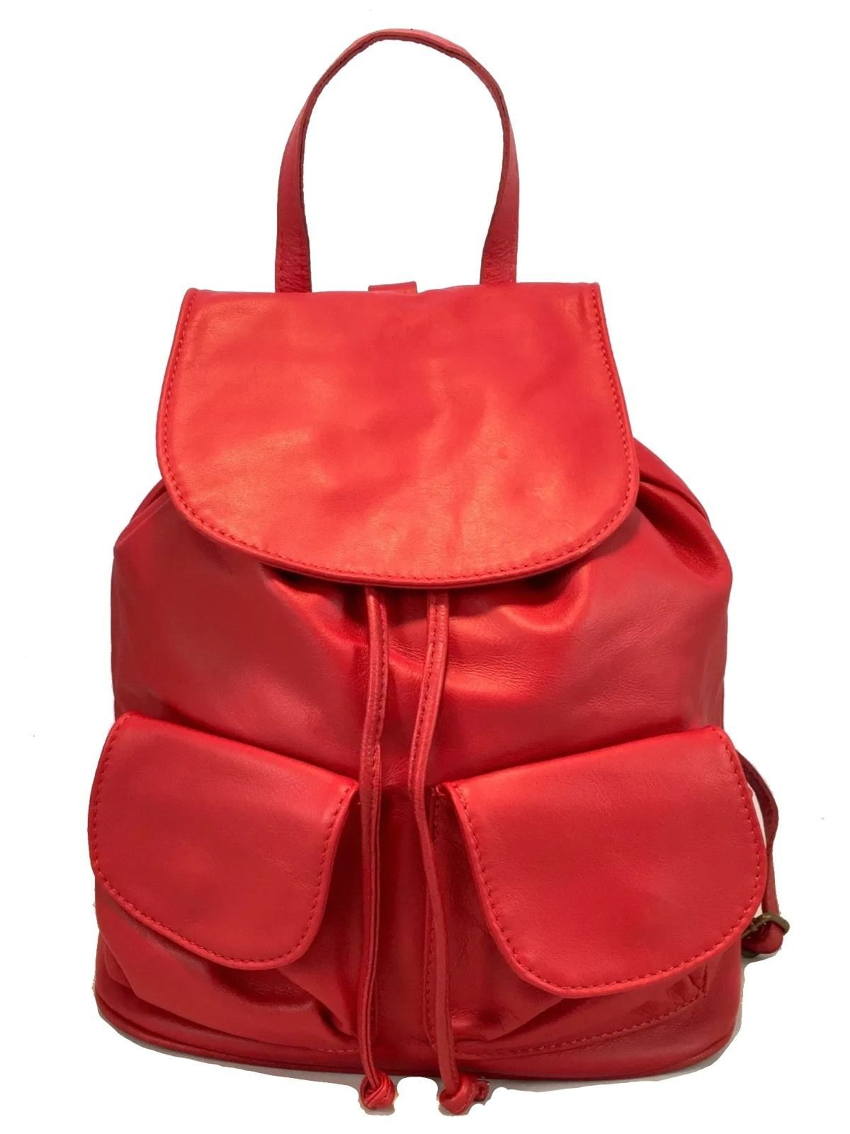 New Made in Italy Leather Red Backpack Shoulder Bag Purse