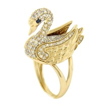 Brand New GLK 14K YELLOW GOLD 1.70CT DIAMOND SWAN RING SIZE 7 - £1,221.63 GBP