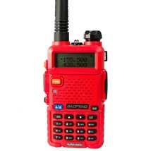 Baofeng uv-5r cb red radio transciver 128ch 5w handheld hunting walkie t... - $149.99