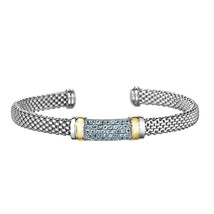 Phillip Gavriel Sterling Silver Blue Topaz Bar Design Cuff Bracelet - $349.99