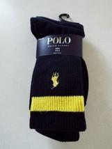 Ralph Lauren 3 Pair Boys Black Crew Socks 4-7 Shoe 10-13 New - $9.89