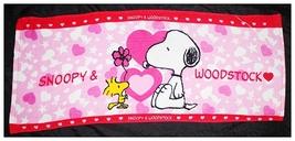 SNOOPY & WOODSTOCK Pink Color Heart Pattern 34 x 80 cm Cartoon Cotton Towel - $10.99