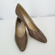 Etienne Aigner Womens Leather Pumps Heels 9.5 N Pointed Toe Taupe Made in Spain - $36.62