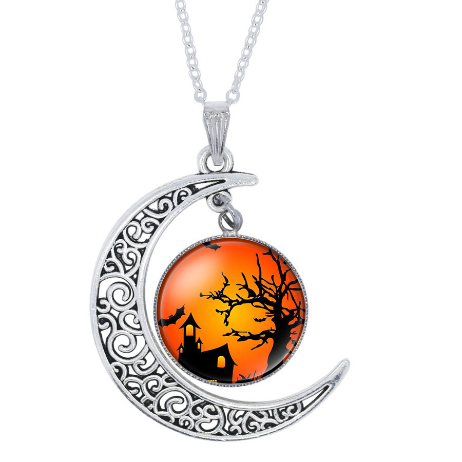 Halloween Black Cat Ghost Picture Glass Cabochon Pendant Necklace For Women Whol