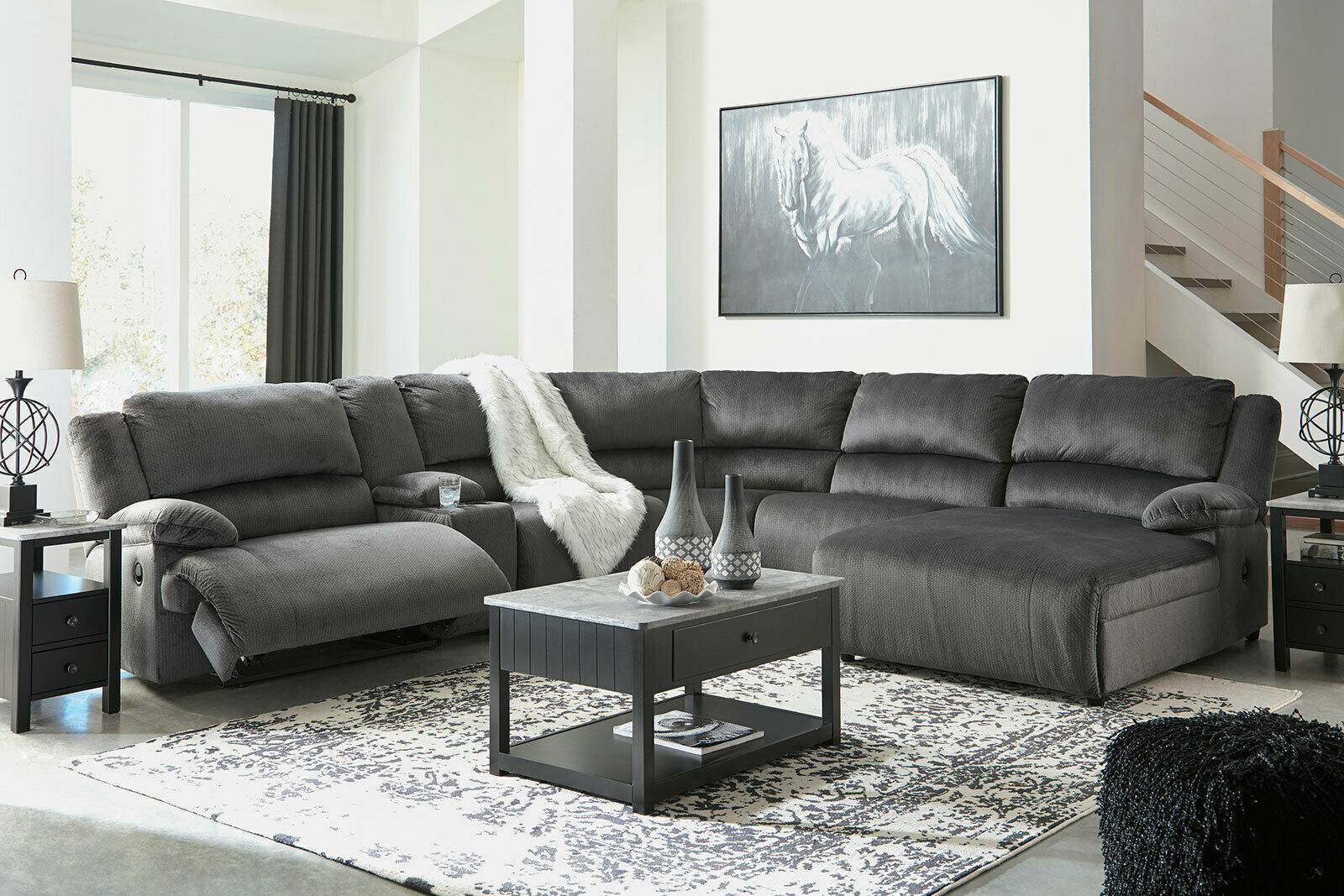 Naples 6pcs sectional living room fabric reclining sofa - Fabric reclining living room sets ...