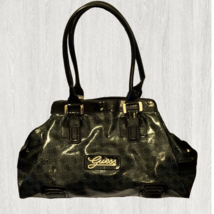 Guess Large Rocky Vinyl Jacquard Charcoal & Black Satchel - $29.03