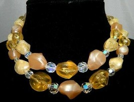 Vintage CORO Signed Double Strand Yellow & Peach Crystal Celluloid Beaded Choker - $39.60
