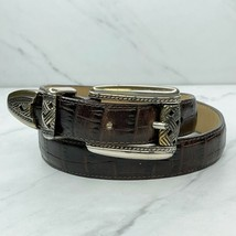 Brown Vintage Croc Embossed Leather 3 Piece Belt Size Small S 26 - $18.60