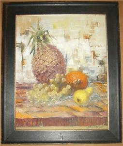 Rare & Original Lydia Darvas Still Life Art Czech Slovak Mixed Media Painting CO