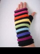 Hand Knitted Fingerless Gloves, Merino + Acrylic - $12.87