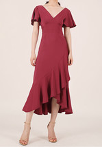Red Cap Sleeve Long Cocktail Dress Chiffon High Waist Wedding Guest Shift Dress image 1