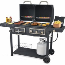 Charcoal Barbecue Gas Grill Outdoor Propane 3 Burner Cast Iron Cooking G... - $246.84