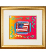 """Flag with Heart"" by Peter Max Acrylic Overpaint Lithograph Signed Framed - $2,137.38"