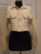 new in pkg frederick's of hollywood IVORY denim crop Jean jacket made USA SMALL - $38.61