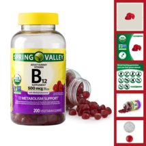 Spring Valley Vitamin B12 Gummy 500 mcg 200 Ct For Weight Loss Energy Support - $18.60