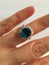 Natural London Blue Topaz  Royal Engagement Ring, 12x10mm Center Stone  - $225.00+