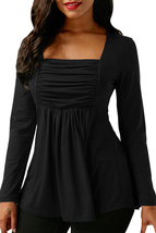 Black Square Neckline Ruched Long Sleeve Blouse  - $18.74