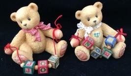 Christmas Cherished Teddies 1996 Joy and Noel Spelled with Blocks Enesco... - $16.77